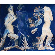"STUNNING Cyanotype 'Spirits' by Judith Jaffe, Signed, Original Art, Female Nude, Botanical, Floral, Nature, ""Eve and her Sisters"" Series, One-of-a-Kind"