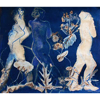 """STUNNING Original Cyanotype 'Spirits' by Judith Jaffe, Signed, Original Art, Female Nude, Botanical, Floral, Nature, """"Eve and her Sisters"""" Series, One-of-a-Kind"""