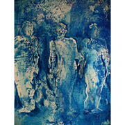 "STUNNING Painting 'Shadows' by Judith Jaffe, Signed, Original Art, ""Eve and her Sisters"" Series, Female Nudes, Gelli Painting, Prussian Blue, One-of-a-Kind"