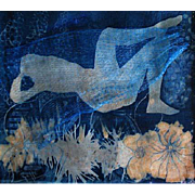 "EXQUISITE Cyanotype 'Awakening' by Judith Jaffe, Signed, Original Art, Female Nude, Botanical, Floral, Nature, ""Eve and her Sisters"" Series, One-of-a-Kind"