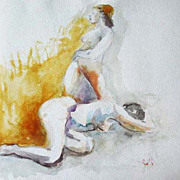 Stunning Original Watercolor Painting, Signed, Two Nude Women - Artist Judith Jaffe