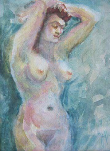 Stunning Nude Original Watercolor Painting, Signed - Artist Judith Jaffe, Nude Woman