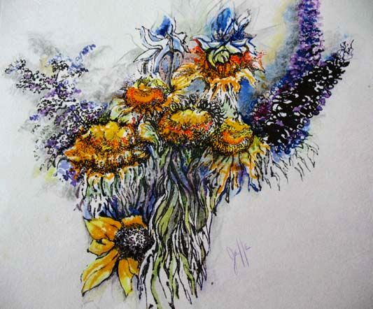 Stunning Original Watercolor Painting, Signed, Judith Jaffe - Meditation on Nature Series, Pen and Ink, Botanical