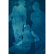 """EXQUISITE original Cyanotype 'Silhouette' by Judith Jaffe, Signed, Female Nudes, """"Eve and her Sisters"""" Series, Original Art, Figures, One-of-a-Kind"""