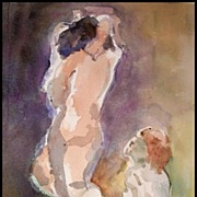 GORGEOUS Original Nude Watercolor Painting - The Couple