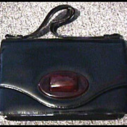 Stylish Vintage Black Leather Purse with BAKELITE Clasp - Made in Canada, Red Leather Interior RARE