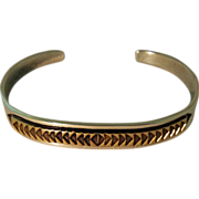 M. M. Rogers Cuff Bracelet Navajo Silver 14K Gold