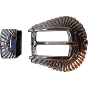 Vintage Silver Pat Areias Belt Buckle and Keeper