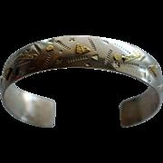 Southwestern Sterling Silver Cuff Modernist 22k Gold