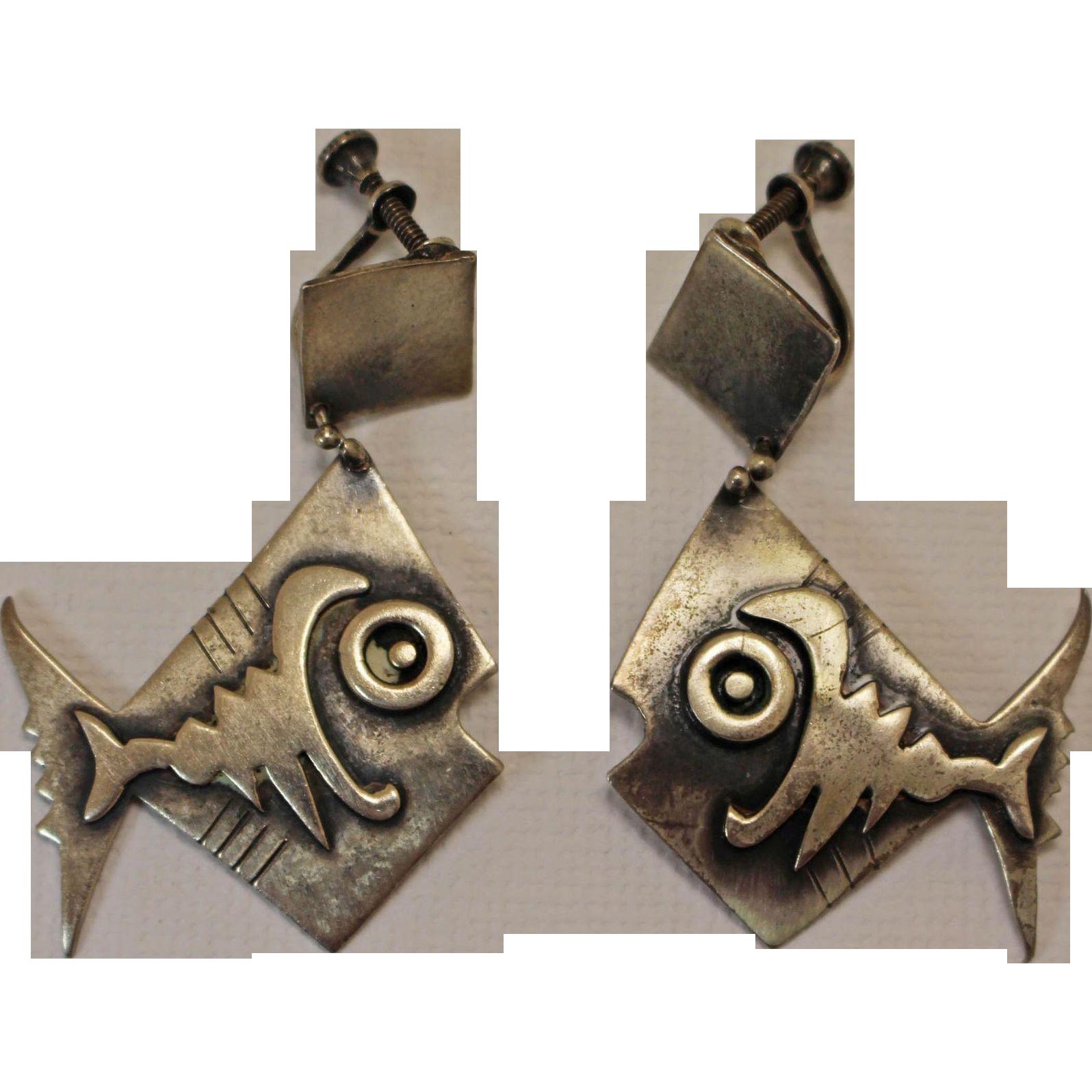 Frank Miraglia Silver Earrings 1950s Studio Modernist From