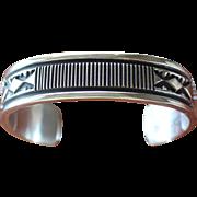 Vintage Man's Navajo Silver Cuff Bracelet Mary and Ken Bill