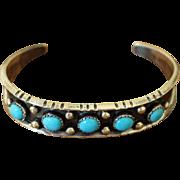 Vintage Navajo Silver Turquoise Bracelet Helen Long