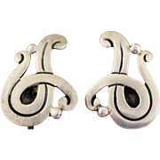 Taxco Maricela Silver Earrings Vintage 1940s