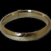 Vintage 14K Gold Bangle Bracelet Expandable Decorated