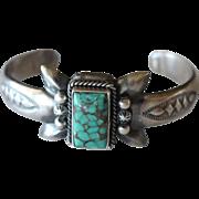 Vintage Navajo Silver Bracelet Turquoise Cuff Bitsui