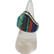 Vintage Charles Loloma Silver Ring Inlaid Turquoise Coral Lapis Ironwood