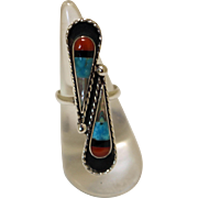 Vintage Zuni Inlaid Ring Silver Turquoise Red Black Shelll