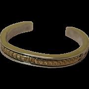 Vintage Native American Cuff Bracelet Sterling 14K Gold