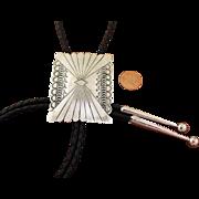 Navajo Silver Bolo Tie Hand Stamped