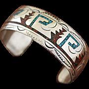 Vintage Navajo Silver Bracelet Inlaid Stamped