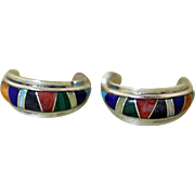 Vintage Zuni Inlaid Earrings Charles Hustito
