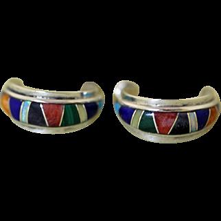 Vintage Zuni Inlaid Earrings Charles Hustito