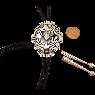 Vintage Navajo Silver Bolo Tie Norman Bia