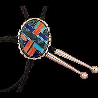 Vintage Bolo Tie Navajo Silver Inlaid Brian Brown