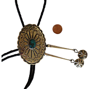 Vintage Silver Bolo Tie Turquoise Concho