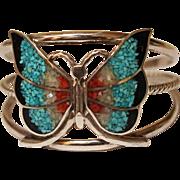 Vintage Navajo SIlver Bracelet Inlaid Stone