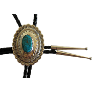 Vintage Concho Silver Bolo Tie Turquoise