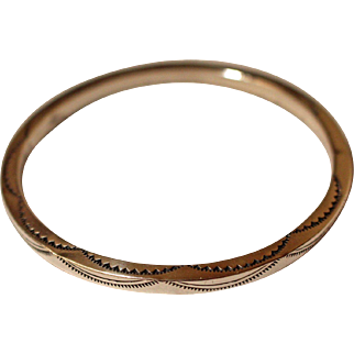 Navajo Silver Bangle Bracelet Tahe
