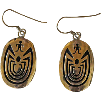 Vintage Hopi Silver Earrings Man in Maze Signed