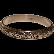 Navajo Silver Bangle Bracelet W Tahe