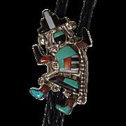 Vintage Zuni Bolo Tie Rainbow Man Inlaid Stone Shell