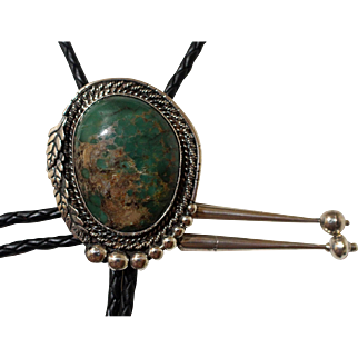 Vintage Silver Bolo Tie Green Turquoise