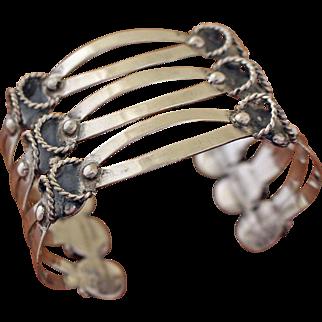 Vintage Taxco Silver Cuff Bracelet 3 Level