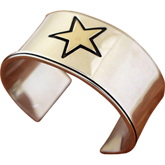 Vintage Edward Baird Silver 14K Cuff Bracelet Lone Star