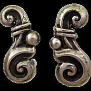 Los Castillo Taxco Earrings Scroll Design Screw Backs