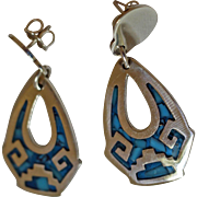 Vintage Taxco Silver Earrings Inlaid Turquoise Dangles