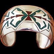 Vintage Navajo Silver Cuff Bracelet Inlaid Stone