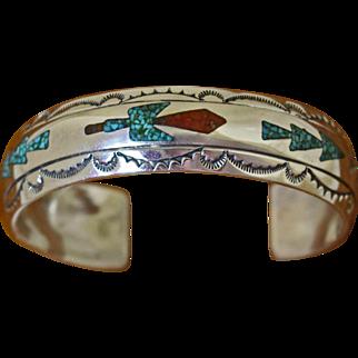Vintage Tommy Singer Cuff Bracelet Inlaid Stone
