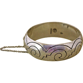 Vintage Taxco Silver Bangle Bracelet