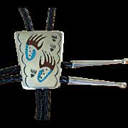 Vintage Silver Navajo Bolo Tie Inlaid Bear Prints