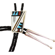 Vintage Inlaid Zuni Bolo Tie Turquoise Onyx Shell