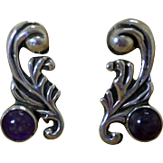 Vintage Mexican Silver Earrings Amethyst Repousse