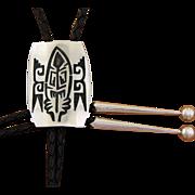 Vintage Hopi Silver Bolo Tie Abstract Design