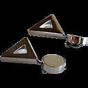 Modernist Silver Earrings Brenda Schoenfeld 1992
