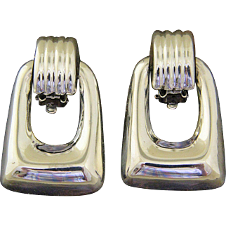 Vintage Taxco Silver Earrings Bold Modernist