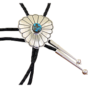 Vintage Navajo Bolo Tie Silver Turquoise